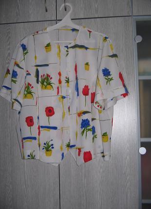 Блузка белая с гвоздиками жатая
