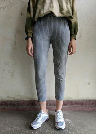 Трикотажные штаны на резинке, повседневные штаны в полоску