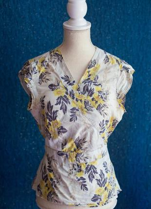 Блуза серая с желтыми цветами