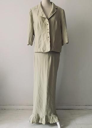Нежно-салатовый шелковый костюм-двойка minuet