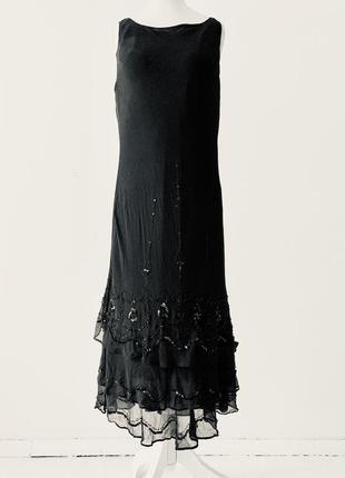 Исключительное шёлковое платье dressbarn, расшитое бисером , с...