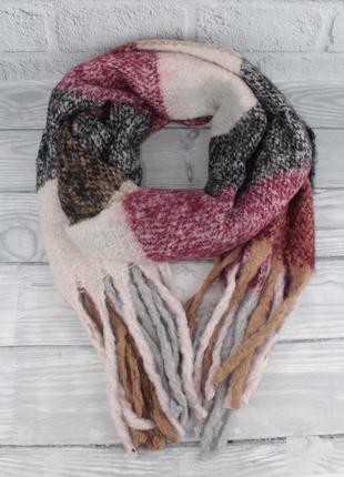Объемный мохеровый шарф-плед, палантин ginoer 7780-9 клетка, р...