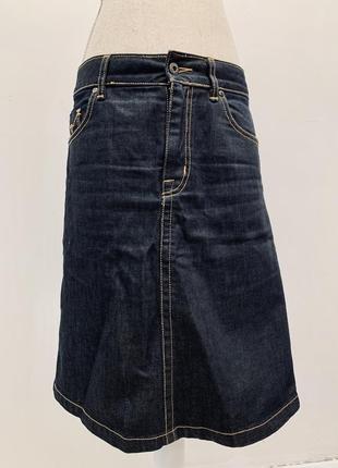 Добротная джинсовая миди юбка