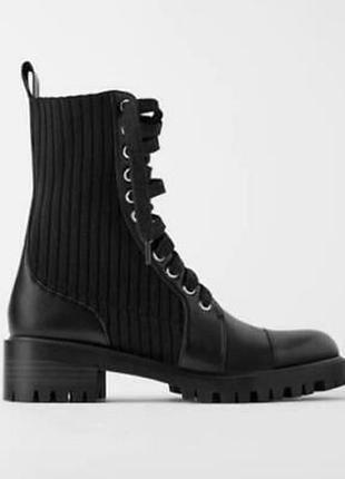 Новые черные ботинки zara сапоги сапожки зара