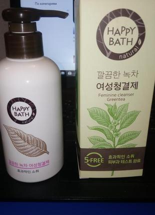 Пенное средство для интимной гигиены с зеленым чаем happy bath