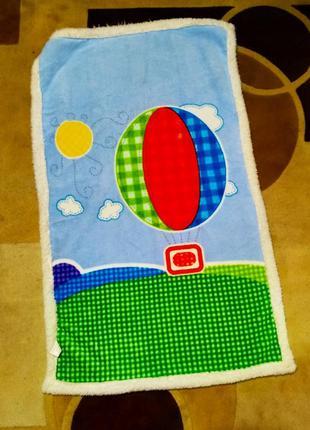 Голубой плед красивое одеяло детское плюшевое покрывало