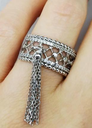 "Серебряное кольцо ""кисточка"" 17 размер"