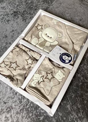 Подарочный набор с мишкой в роддом, на крещение, 5 предметов
