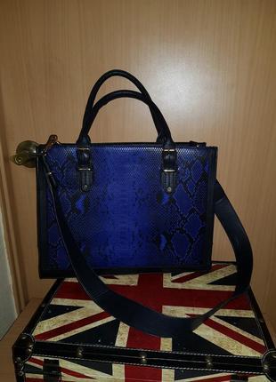 Крутая каркасная сумка в змеиный принт синяя змея рептилия ани...