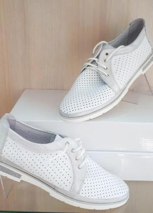 Кожаные туфли с перфорацией на шнурках натуральная кожа белые,...