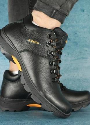 Мужские ботинки ecco. кожаные зимние ботинки  топ качества