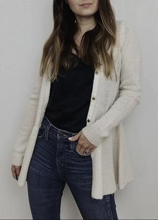 Zara: серый шерстяной кардиган с баской