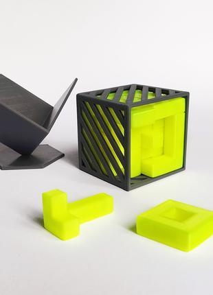 Сложная головоломка пазл Куб, 18 деталей. 3D печать