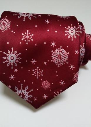 Бордовый галстук с принтом снежинки*галстук для фотосессии*нов...