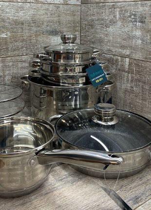 Посуда/Кастрюли/Набор Rainberg RB-601 12 предметов