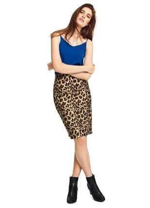 Юбка карандаш коллекция хайди клум/ юбка миди леопард