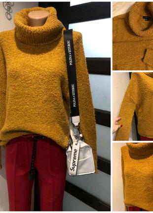 Горчичный буклированный джемпер свитер кофта