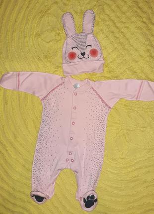 Набор человечек+ шапка для новорождённой малышки  на выписку  ...