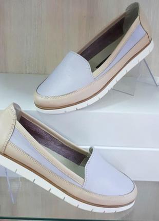 Кожаные женские серые бежевые туфли балетки мокасины натуральн...