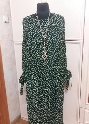 Платье -крестьянка в стиле бохо р.56-60 оверсайз. стиль бохо/б...