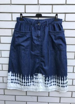 Джинсовая юбка-выворка,хлопок, большого размера tu