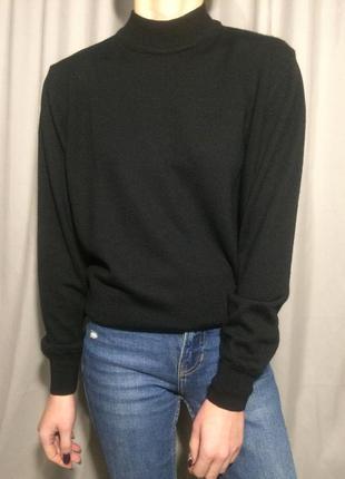 Базовый итальянский черный шерстяной свитер оверсайз