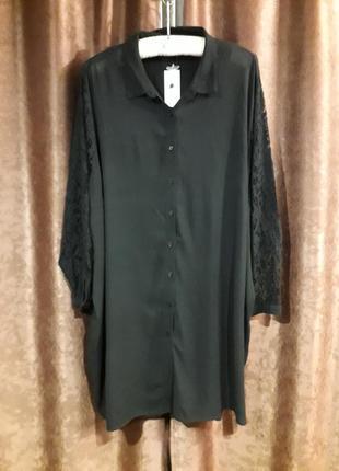 Новое платье -рубашка большого размера с кружевными рукавами и...