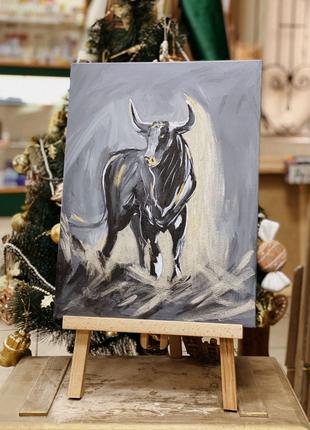 Картина бык, символ года, подарок на новый год