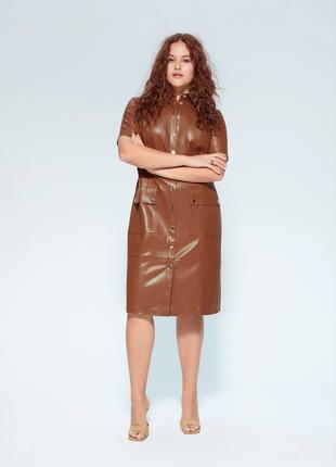 Кожаное карамельное платье mango 46-48