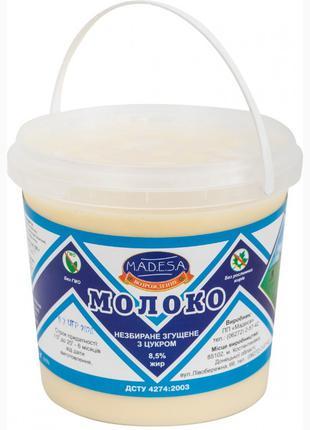 Молоко цельное сгущенное с сахаром 8, 5%,Ведро 1250 гр, экспорт
