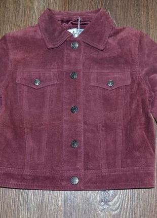 Стильная, кожаная куртка h4 kids.de (110-122) новая. натуральная