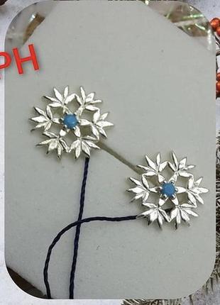 Серьги серебро 925 гвоздики снежинка имп 20291