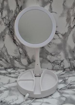 Зеркало двухстороннее для макияжа с Led подсветкой трансформер