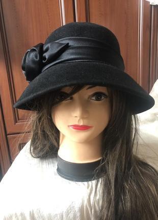 Роскошная шерстянка фетровая дамская шляпа с полями и розой, ш...
