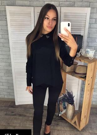 Рубашка черная, рубашка женская, универсальная