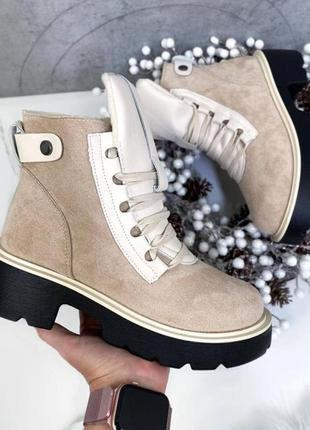 Зимние ботинки платформа каблук