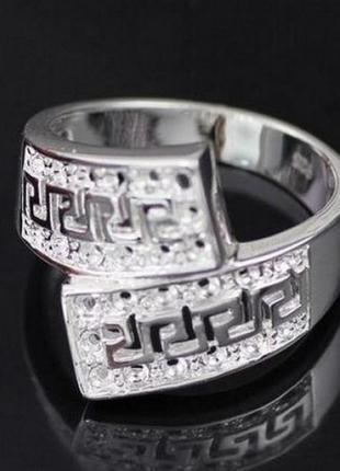 🏵стильное кольцо в серебре 925 греческий орнамент, 18 р., ново...