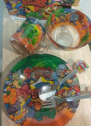 Набір дитячого посуду з 5 предметів. бравл старс