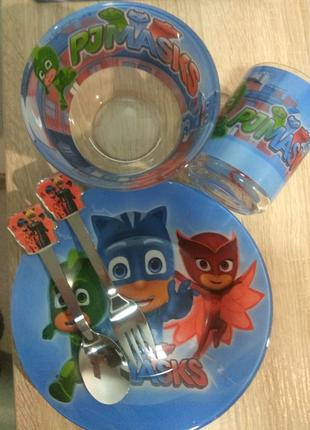Набір дитячого посуду з 5 предметів. Герої в масках