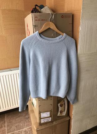 Тёплый голубой блестящий вязаный свитер goldi кофта пуловер ре...