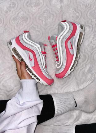 Распродажа! nike air max 97 white pink женские кожаные кроссовки