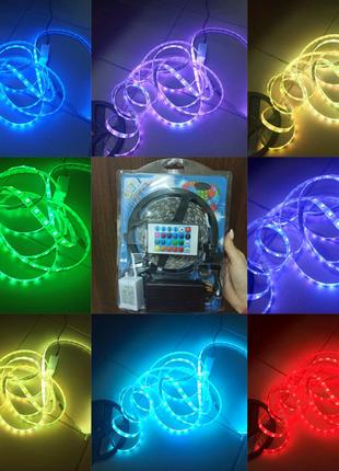 Светодиодная RGB Led лента 5050 5м, влагозащищенная светодиодная