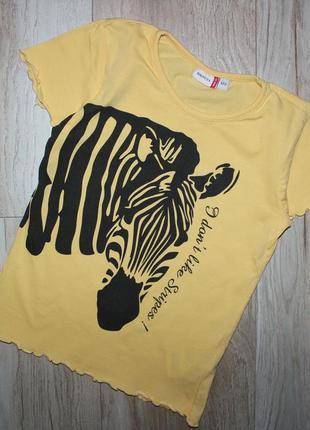Яркая детская футболка желтая зебра berti 7 лет, рост 122 см.