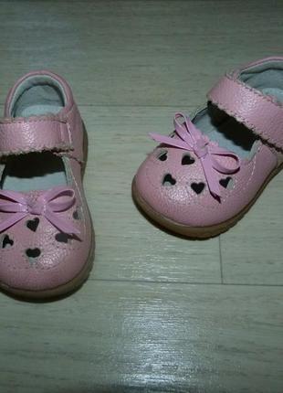 Кожаные туфли для маленькой принцессы 22 размер