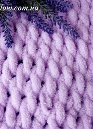 Плед плюшевый вязаный 100х80 фиолетовый, конверт для выписки