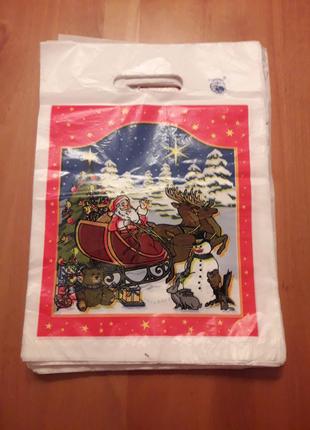 Пакеты 35×25 см для упаковки подарков Дед мороз пакет с ручкой