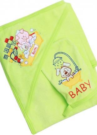 Полотенце детское с капюшоном и рукавичкой