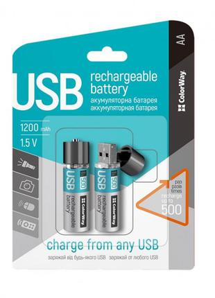Аккумуляторы USB ColorWay (CW-UBAA-02) AA/HR06 Li-Pol 1200 mAh BL
