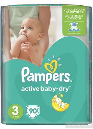 Подгузники Pampers Active Baby-Dry 3 Midi 5-9кг 90шт