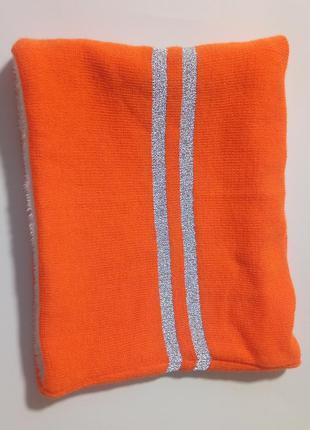 Шарф снуд яркий оранжевыйт с светоотражающими подосками и эко ...